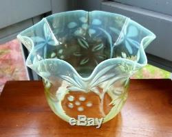 Victorian Blue Green Opalescent Vaseline Powell Glass Oil Lamp Flora Tulip Shade