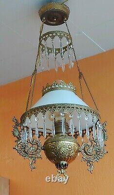 Victorian Bradley & Hubbard Hanging converted Oil Parlor Library Lamp Leprchaun