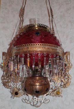 Victorian Bradley Hubbard Jeweled Raspberry Hanging Library Kerosene Oil Lamp