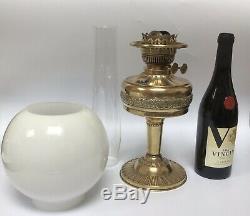 Victorian Brass Duplex Oil Lamp Milk Glass Shade British Made Embossed
