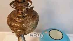 Victorian CHERUB Banquet Parlor Oil Lamp Ornate Cast Metal Three Dimensional
