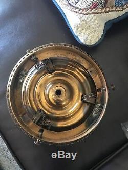 Victorian Cranberry Coin Dot Brass Jeweled Hanging Lamp Kerosene Oil Parlor