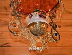Victorian Cranberry Red Jeweled Pull Down Oil Lamp withCrystals Painted Font 1880s