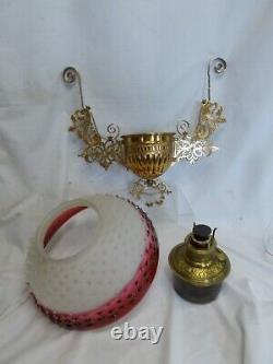 Victorian (E. M. Co.) Hanging Parlor / Library Kerosene Oil Lamp Unusual Shade