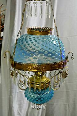 Victorian Electrified Re-Brassed Hanging Oil Lamp with Blue Hobnail Shade