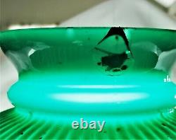 Victorian Emeralite Green Ribbed Cased Glass Oil Student Rail Lamp Electrified