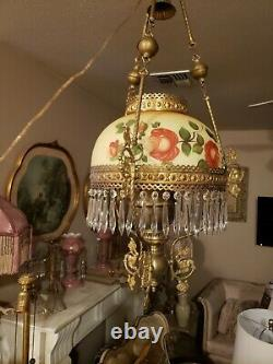 Victorian French Antique Hanging Oil Lamp with Prisms