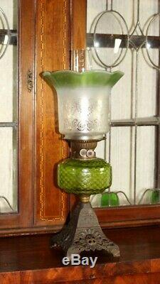 Victorian Gilt Cast Iron Base Duplex Oil Lamp with Tinted Glass Shade 5469