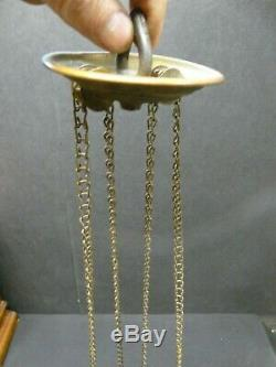 Victorian Hanging Hall Entry Oil Lamp Cranberry