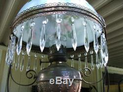 Victorian Hanging PARLOR LAMP With Prisims (GWTW, Hurricane, Library, Oil Lamp)