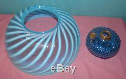 Victorian Hanging Parlor Oil Lamp With Hobb's Blue Swirl Antique Art Glass Shade