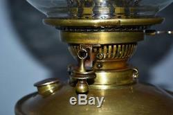 Victorian Hinks Corinthian Column Etched Glass Shade Oil Lamp PL2819