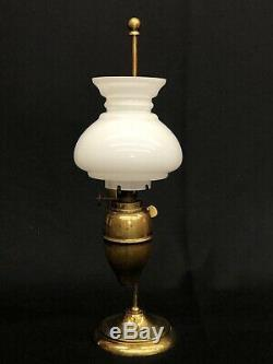 Victorian Miniature Brass Student Kerosene Oil Lamp with Correct Shade NR EXC