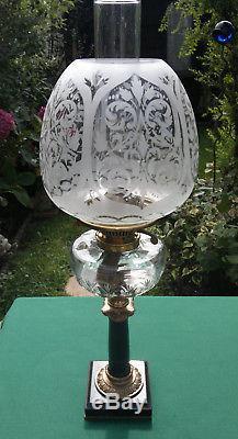 Victorian Oil Lamp Marble Base Cut Glass Font Duplex Burner 22.5 Tall