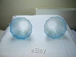 Victorian Oil Lamp Shades Matching Blue Pair Perfect Condition