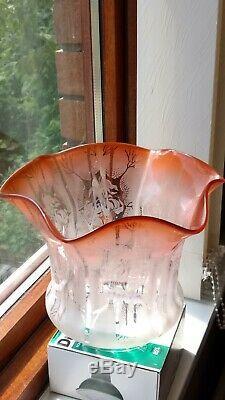 Victorian Peach Oil Lamp Shade