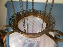 Victorian Pink Opalescent Swirl Glass Shade Hanging Pull Down Hall Oil Lamp