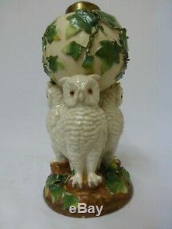 Victorian Porcelain Owls Nursery Miniature Oil Lamp