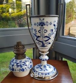 Victorian Silver Plated Continental Meissen China Oil Table Lamp Onion Pattern