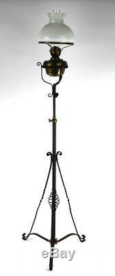 Victorian Wrought Iron Extending Floor Stand Oil Lamp with Glass Shade P4812