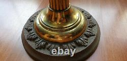 Victorian oil lamp cut glass font on brass column base double burner