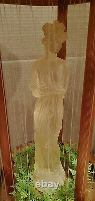 Vintage 1960's Fox Orange Oil Rain Lamp with Clear Greek Goddess 32 Table Model