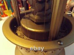 Vintage 1970's 17 Table Top Cabin Oil Rain Lamp Gold Tone with waterwheel / light