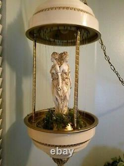 Vintage 70's Hanging Oil Rain Lamp 3 Greek Goddesses Antique Cream & Gold 36