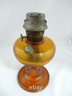Vintage Aladdin Beehive Pattern Nu-type Model B Amber Glass Oil Lamp