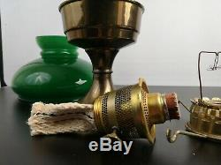 Vintage Aladdin Brass Oil Paraffin Table Lamp Glass Chimney with Green Shade