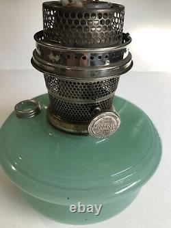 Vintage Aladdin Oil Lamp Moonstone Green Glass Base USA