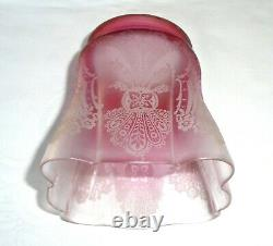 Vintage/Antique Acid Etched Cranberry Glass Oil Lamp Shade/Light Shade/Lampshade