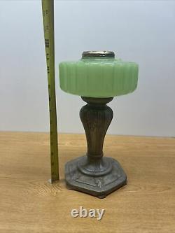 Vintage Antique Aladdin Oil Lamp Metal Base Green Jadeite Glass Font