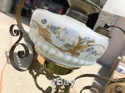 Vintage Antique Bradley & Hubbard B&h Hanging Lamp Glass Font 004