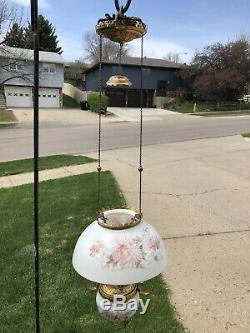 Vintage Antique Bradley & Hubbard B&h Hanging Lamp Glass Font 006