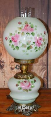 Vintage Antique Glass GWTW Parlor Table Oil Lamp Green Pink Rose 20 t Electric
