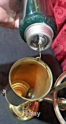 Vintage Antique Manhattan Kero Oil Student Lamp With Green Glass Shade & Tank