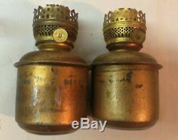 Vintage Antique Original Pair Dressel Railroad Caboose Wall Kerosene Oil Lamps