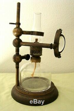Vintage Bockett Brass Microscope Oil Lamp Collins of London
