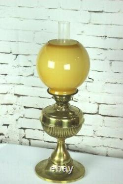 Vintage Brass Duplex Oil Lamp with Amber Glass Shade 5131