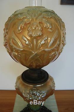 Vintage Fenton Gwtw Iridescent Marygold Oil Kerosene Art Nouveau Iris Glass Lamp
