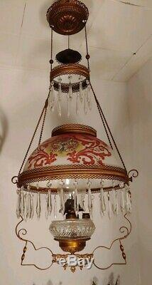 Vintage Hand Painted Parlor or Library Victorian Era Hanging oil Lamp 1900