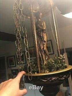 Vintage Hanging Mineral Oil Raining Greek Goddess Statue Lamp