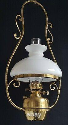Vintage Hanging Paraffin Kerosene Oil Lamp Two Duplex Burners With Flame Dampers