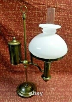 Vintage Kosmos Brenner Brass Oil Lamp Complete with Chimmney & Milk Glass Shade