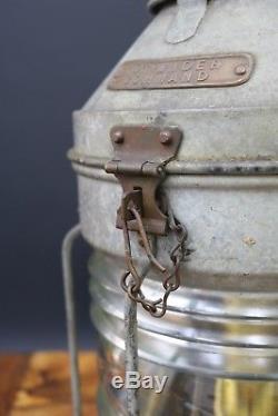 Vintage Meteorite Ships Lantern Oil Lamp Nautical Marine White Anchor Masthead