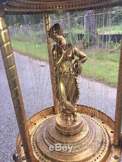 Vintage Mineral Oil Rain Lamp On Original Stand Rare Large