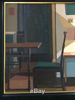 Vintage Oil Painting Interior Scene Mid Century Modern Room Apt. Lamp Desk Framed