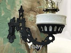 Vtg Antique Victorian Wall Sconce Oil Lamp Cast Iron Milk Glass ArtDeco Eastlake