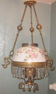 Vtg Victorian Style John Scott Hanging Library Oil Lamp with Rose Shade, Prisms